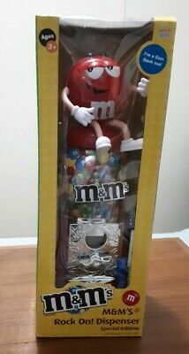 Red M&M With Guitar Rock On Dispenser in Original box 2009
