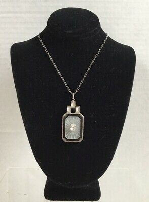 Antique 1920-30 Art Deco Camphor Glass Crystal Sunray Sterling Necklace