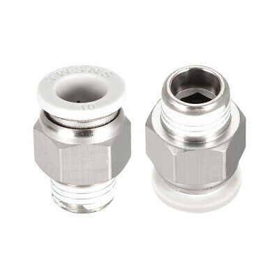Straight Pneumatic Push to Quick Connect Fittings 1/4BSPT Male x 10mm White 2pcs