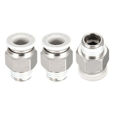 Straight Pneumatic Push to Quick Connect Fittings 1/4BSPT Male x 10mm White 3pcs