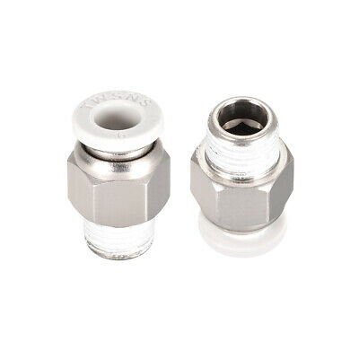 Straight Pneumatic Push to Quick Connect Fittings 1/8BSPT Male x 6mm White 2pcs