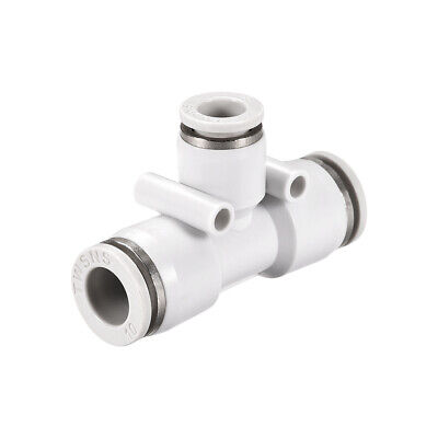 Plastic Tee Push To Connect Tube Fittings 10mm-8mm od Push Lock White