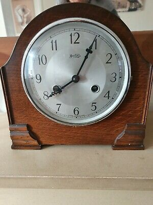 Vintage 40s/50s Bentima English Oak Cased Mantle Clock With Westminster Chimes.