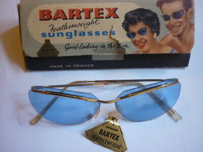bartex french 50s/60s sunglasses blue feather/wt  lenses boxed