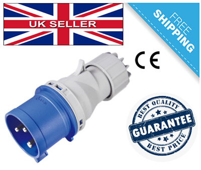 Genuine IECEE Approved Blue 240V 32 AMP 3 Pin Plug Male IP44 Connector