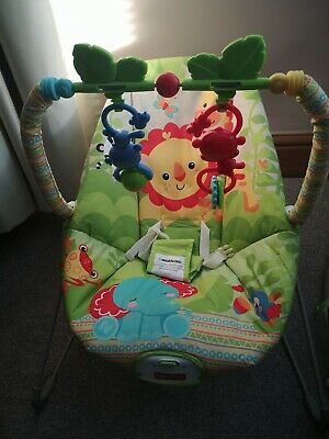 Fisher Price Rainforest Friends Baby Bouncer Seat Vibrating Excellent Condition