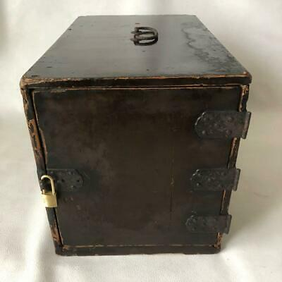 41 cm Japanese Wooden Safety Box Accessory Case Lacquer Padlock Antique Rare L1