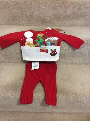 NEXT Baby Girls Xmas Outfit, Jumper/Leggings, Up to 1 Month