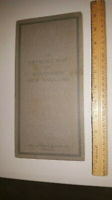 1916 Official Map Of Southern New England Connecticut, Ri, Mass Huge Foldout Map
