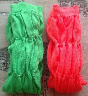 Pair Of Dance Leg Warmers, Fluorescent Green/Orange, One Size