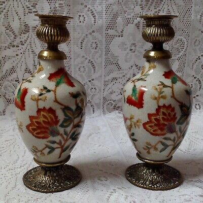 Antique Chinese Export Crackle Glaze And Brass Mounted Candlesticks
