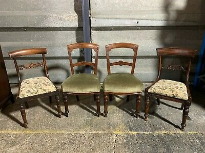 Set of 4x antique Victorian dining chairs carved turned upholstered harlequin 2s