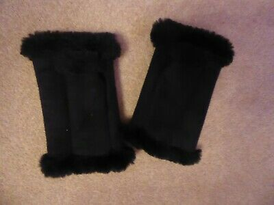 Black Faux Suede Fingerless Mitts/Gloves - One Size