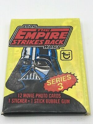 Vintage 1980 Star Wars Tesb Topps Series 3 Unopened Wax Pack Bubble Gum Cards