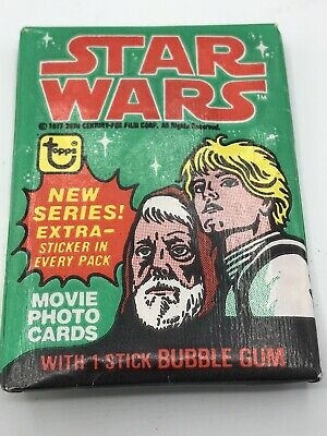 Vintage 1977 Star Wars Topps Series 4 Green Unopened Wax Pack Bubble Gum Cards