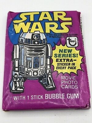 Vintage 1977 Star Wars Topps Series 3 Yellow Unopened Wax Pack Bubble Gum Cards