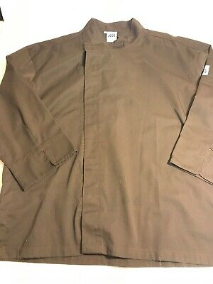 Mens Chef Revival Brown Snap Chef Coat Size Large