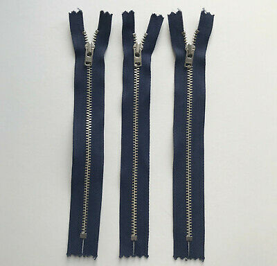 "3 x YKK 18cm 7"" Navy Blue Zip Closed Ended Zips Zippers Jeans strong heavy duty"