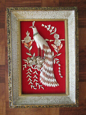 "VINTAGE 3 D SHELL ART ""PEACOCK"" HAND MADE SHELL FRAMED PICTURE  20 1/2 x 14 1/2"