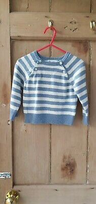 La Redoute Baby Boys Blue White Stripe Jumper 9-12 Months