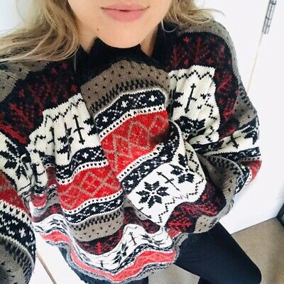 Vintage Chunky Oversized Snowflake Patterned Nordic Cosy Indie Jumper Sweater XL