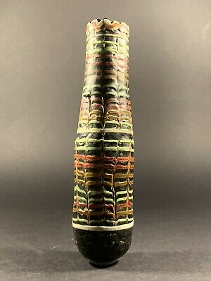 Very Rare Highly Detailed Ancient Phoenician Mosiac Glass Vessel Circa 1000Bce