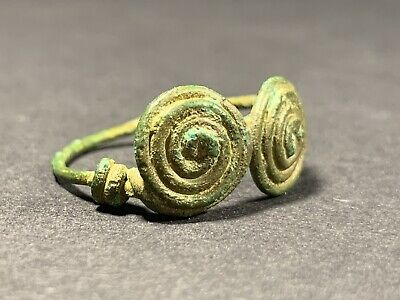 Ancient Celtic Bronze Double Spiral Spectacle Ring Circa. 900-800 Bce