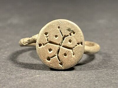 Ancient Byzantine Decorated Christian Cross Solid Silver Ring Circa 1200-1400 Ad