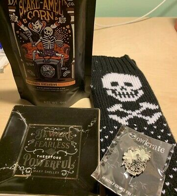 Owlcrate September Box Lot Coffee Trinket Dish Pin & Arm Warmers