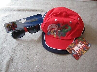 Marvel Super Heroes Boys Baseball Cap Hat & Sunglasses Both New With Tags