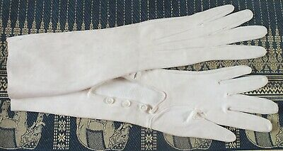 VINTAGE GLOVES in soft CREAM Suede.Below elbow Length.Triple button Feature