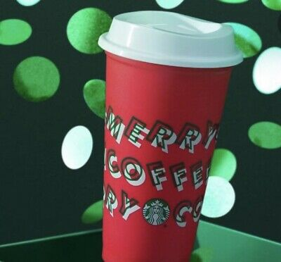 "2019 Starbucks ""Merry Coffee"" Grande (16 oz) Reusable Holiday Red Cup With Lid"