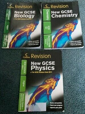 COLLINS GCSE BIOLOGY CHEMISTRY & PHYSICS AQA A HIGHER Revision & Exam STUDY Book