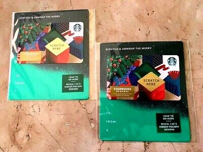 """2019 -Two-Starbucks Christmas """"Scratch & Unwrap The Merry"""" Gift Cards Free Ship"""