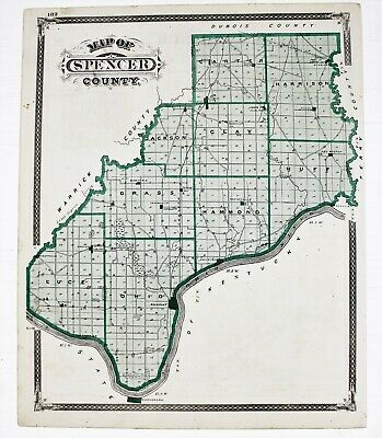 1876 Indiana Map Spencer Warrick County Boonville Rockport Newtonville Railroads