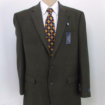 46 L Chaps Olive Brown Plaid Tweed Pure Wool Mens Jacket Sport Coat Blazer Mint