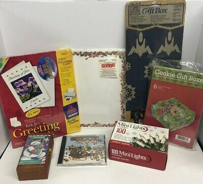 BUNDLE Christmas Supplies Lights Alvin The Chipmunk CD Holiday Box Avery Paper