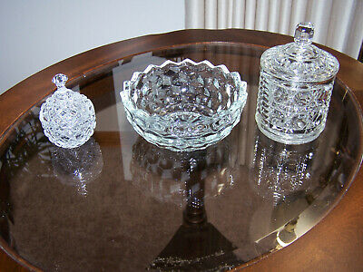 Vintage Lot of 3 Clear Cut Glass Small Candy Condiment Trinket Dishes Bowls