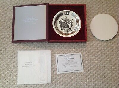 1973 Franklin Mint Sterling Silver Plate Norman Rockwell Trimming the Tree