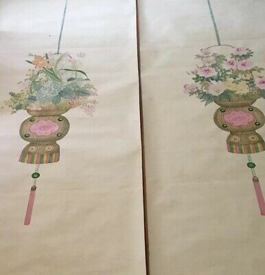 Pair Of Late 19th Early - 20th Century Hand painted Chinese Watercolor Wallpaper