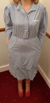 Vintage retro 70s stripe shirt dress M