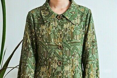 Vintage 1970's wood stock festival green Boho folk midi dress