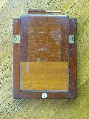 Wooden & brass negative (glass plate) holder for antique camera / photography