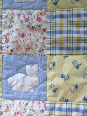 House of Hatten Shabby Chic Baby CRIB QUILT Comforter Applique Embroidered Bunny