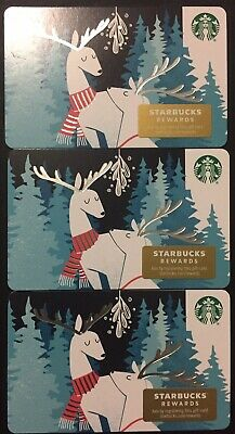 """Lot 3 Starbucks """"2 REINDEERS"""" Christmas 2019 Recycled Paper Gift Card set"""