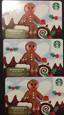 "Lot 3 Starbucks ""GINGERBREAD MAN"" Christmas 2019 Recycled Paper Gift Card set"