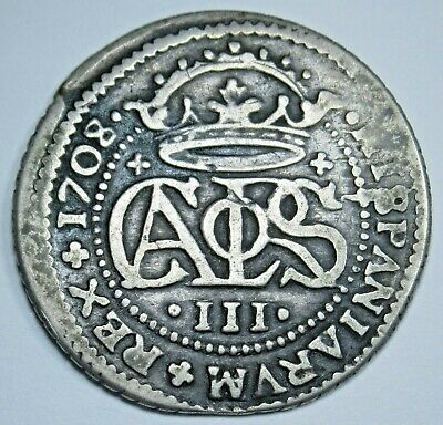 1708 Spanish Silver 2 Reales Colonial Authentic Piece of 8 Two Bits Pirate Coin