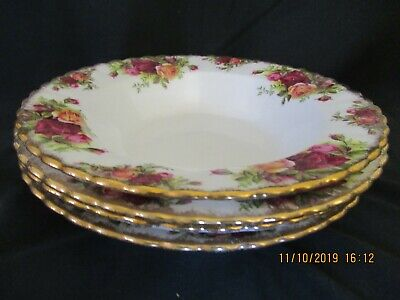 """4 Royal Albert Old Country Roses Rimmed Soup Bowls 8"""""""