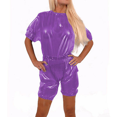New 2019 Latex Catsuit 100% Rubber Suit Wetlook Lila Top&aShorts Cosplay S-XXL