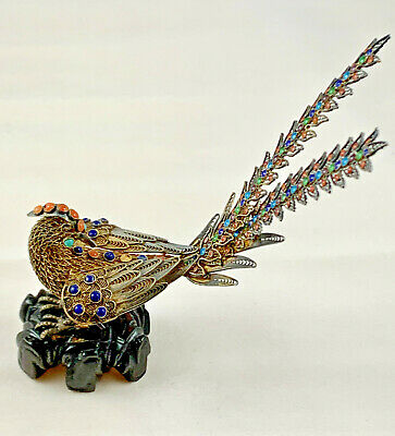 Antique Chinese Sterling Silver Filigree & Enamel Peacock On Wooden Base